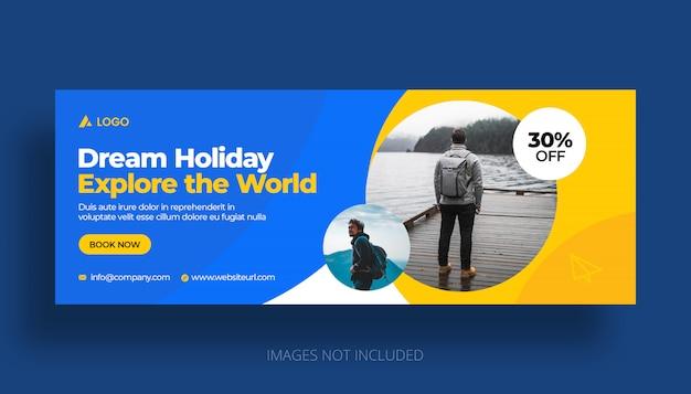 Plantilla de portada de línea de tiempo de facebook de vacaciones de viaje PSD Premium