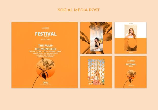 Plantilla de post cuadrado con concepto de festival de primavera PSD gratuito
