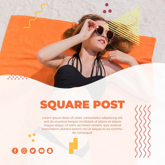 Plantilla de post cuadrado en estilo memphis para verano PSD gratuito