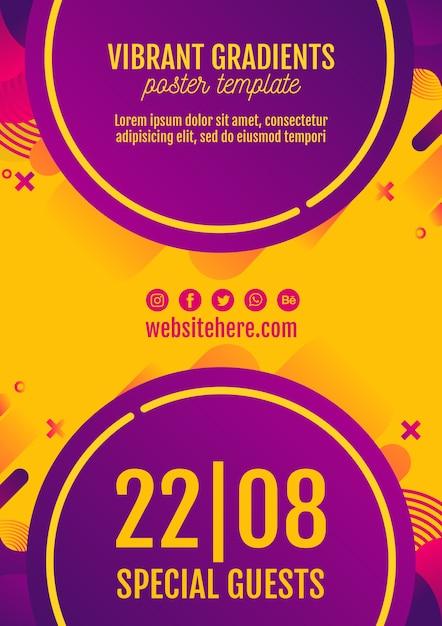 Plantilla póster amarillo festival de música PSD gratuito