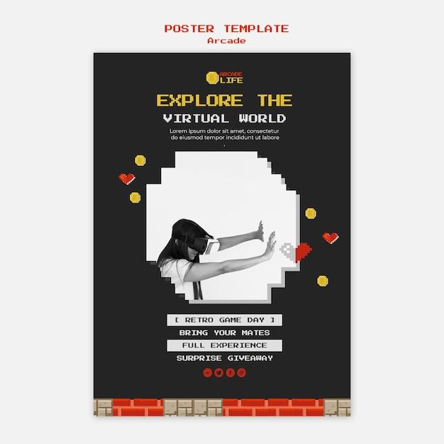 Plantilla de póster de arcade PSD gratuito