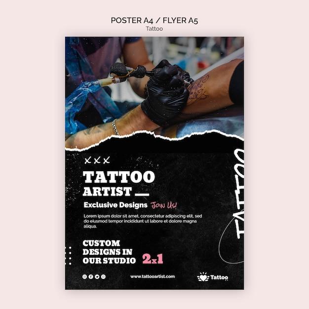 Plantilla de póster de artista del tatuaje PSD gratuito