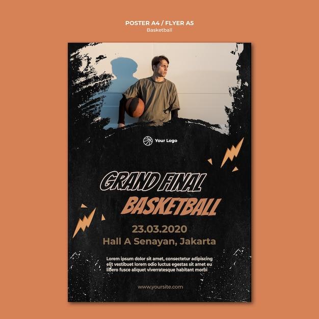 Plantilla de póster de baloncesto con foto PSD gratuito