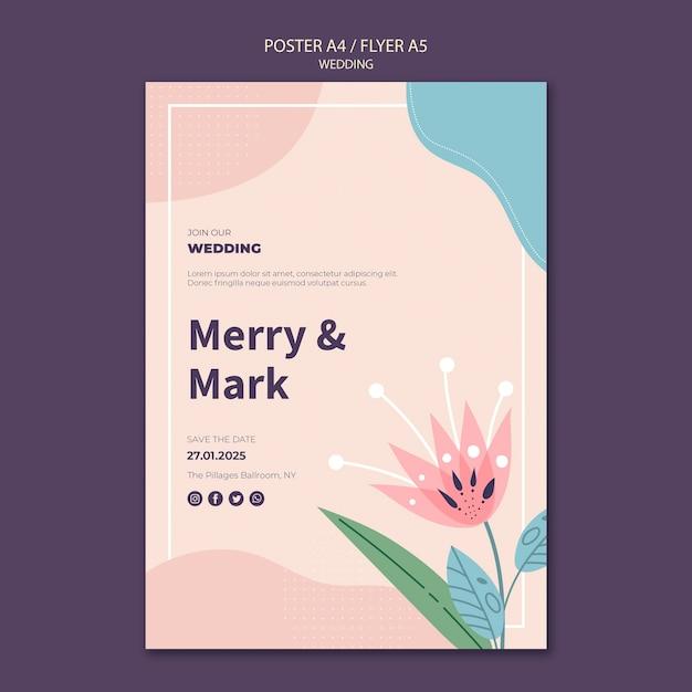 Plantilla de póster de boda PSD gratuito