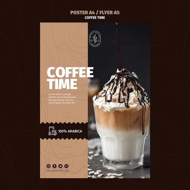 Plantilla de póster de café frappe de verano PSD gratuito
