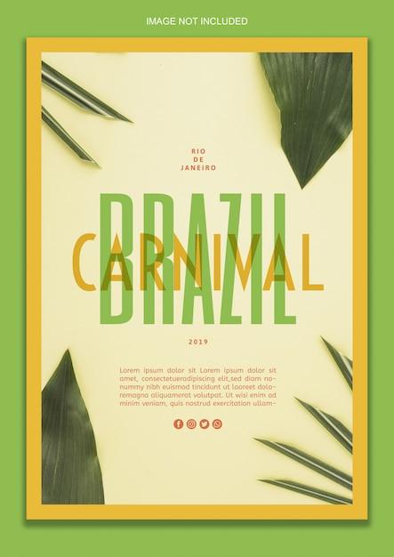 Plantilla de póster - carnaval brasileño PSD gratuito