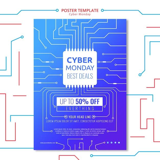Plantilla de póster de circuito el lunes cibernético PSD gratuito