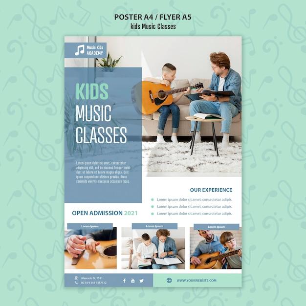 Plantilla de póster de concepto de clases de música para niños PSD gratuito