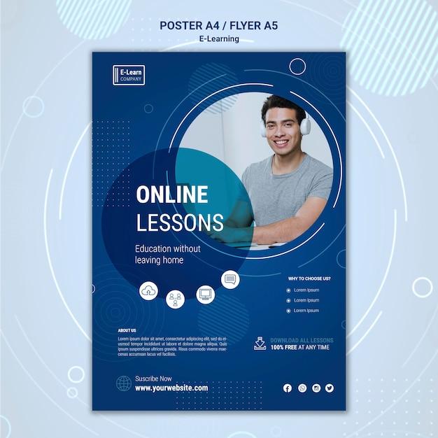 Plantilla de póster de concepto de e-learning PSD gratuito