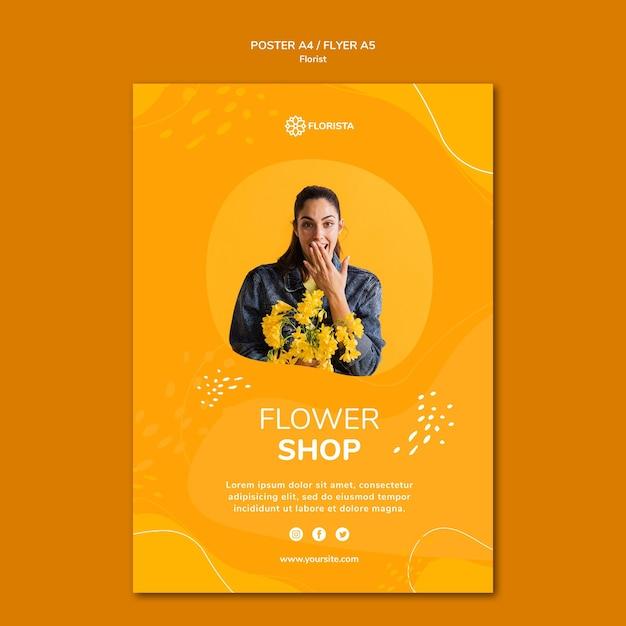 Plantilla de póster de concepto de floristería PSD gratuito