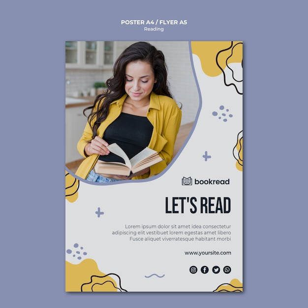 Plantilla de póster de concepto de lectura PSD gratuito