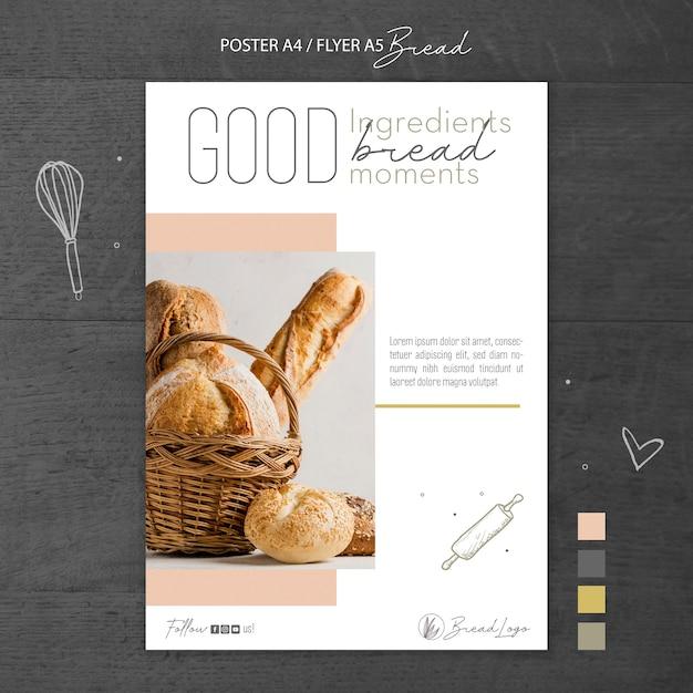 Plantilla de póster de concepto de pan PSD gratuito