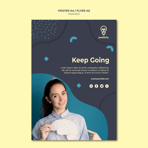 Plantilla de póster de concepto de positivismo PSD gratuito