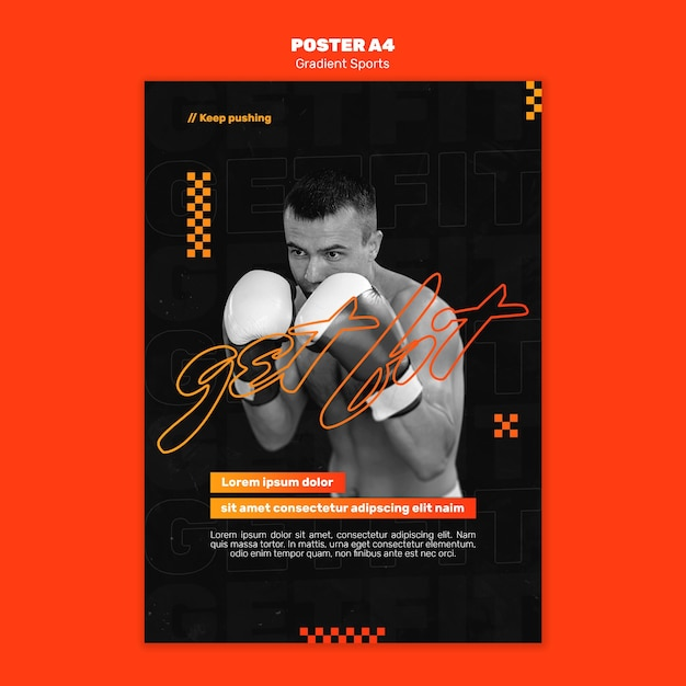 Plantilla de póster de deportes de lucha PSD gratuito