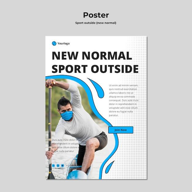 Plantilla de póster deportivo fuera con foto PSD gratuito