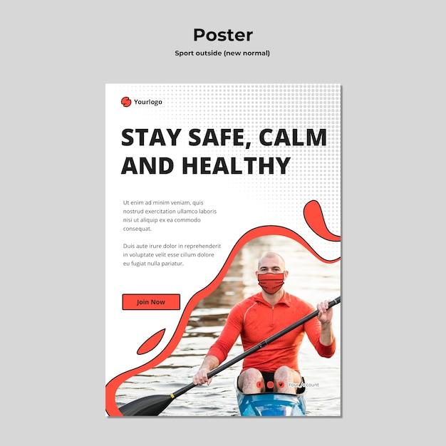 Plantilla de póster deportivo fuera PSD gratuito