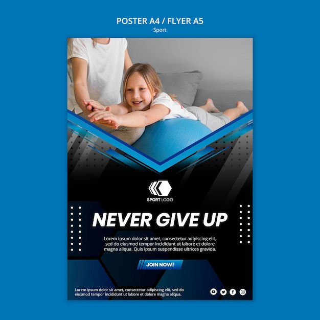 Plantilla de póster deportivo PSD gratuito