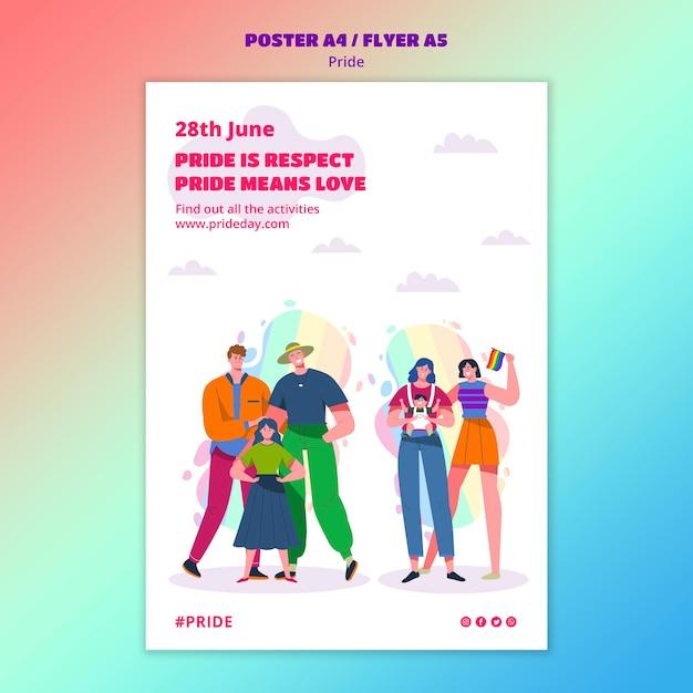 Plantilla de póster del día del orgullo PSD gratuito