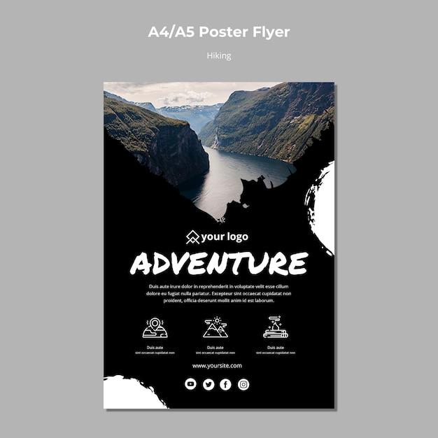 Plantilla de póster con diseño de senderismo PSD gratuito