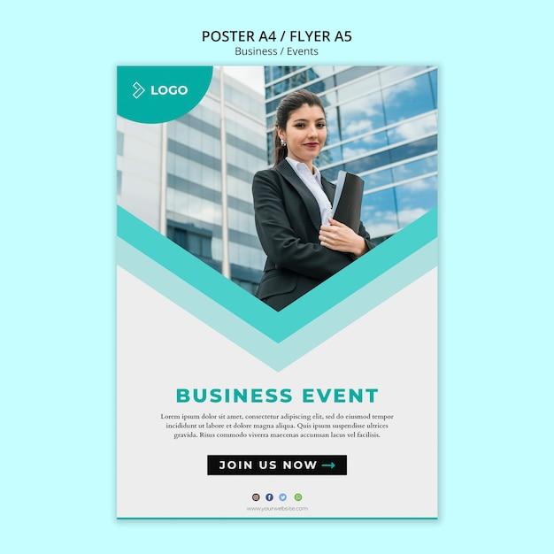 Plantilla de póster para evento empresarial PSD gratuito