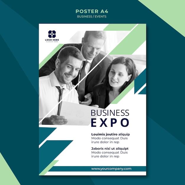 Plantilla de póster para expo de negocios PSD gratuito