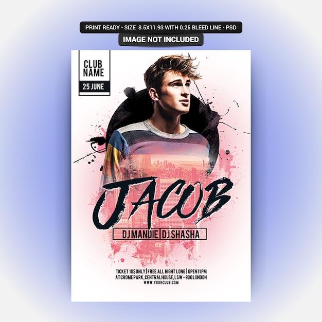 Plantilla de póster de fiesta con jacub PSD Premium