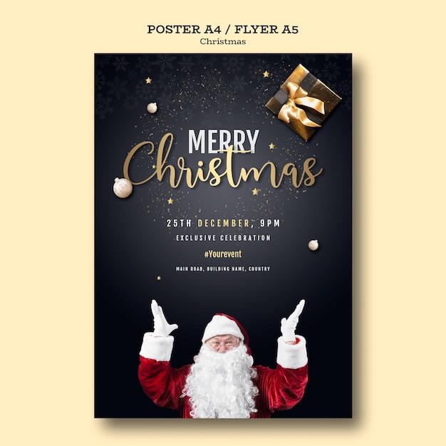 Plantilla de póster de fiesta de navidad PSD gratuito