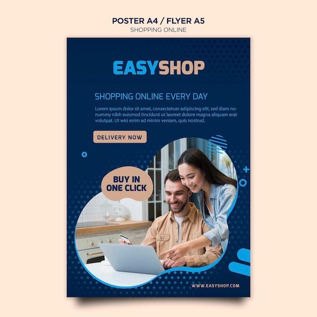 Plantilla de póster en línea de compras PSD gratuito