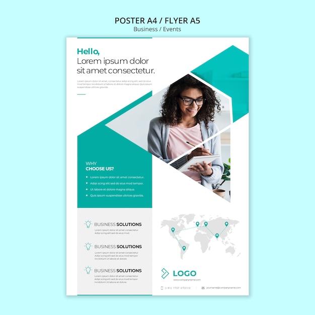 Plantilla de póster de negocios en línea PSD gratuito