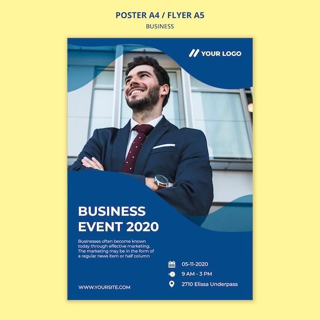 Plantilla de póster de negocios PSD gratuito