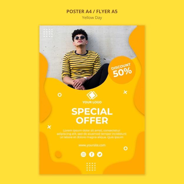 Plantilla de póster de oferta especial del día amarillo PSD gratuito