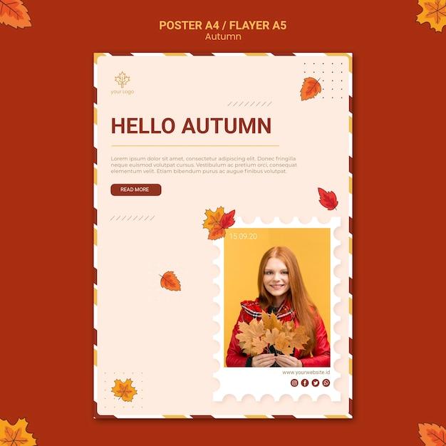 Plantilla de póster publicitario de otoño PSD gratuito