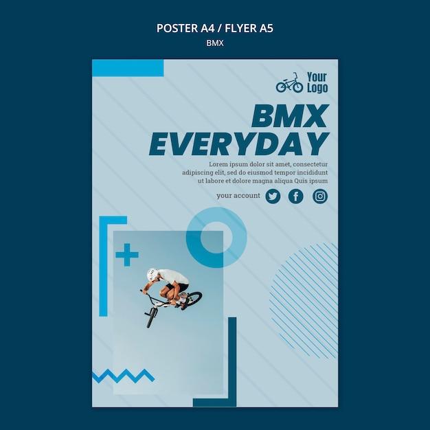 Plantilla de póster publicitario de tienda bmx PSD gratuito