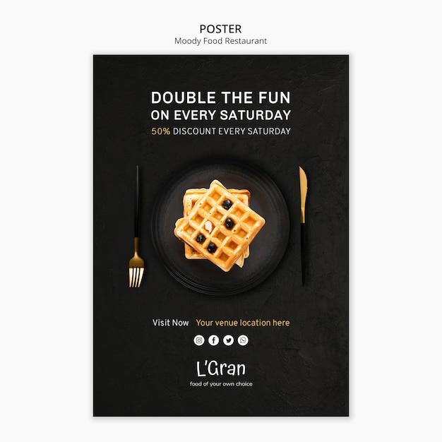 Plantilla de póster para restaurante de comida cambiante PSD gratuito