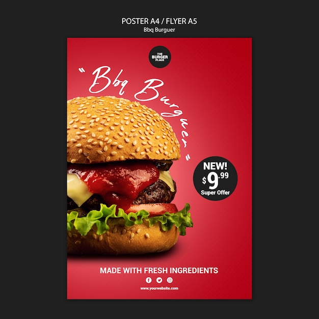 Plantilla de póster para restaurante con hamburguesa PSD gratuito