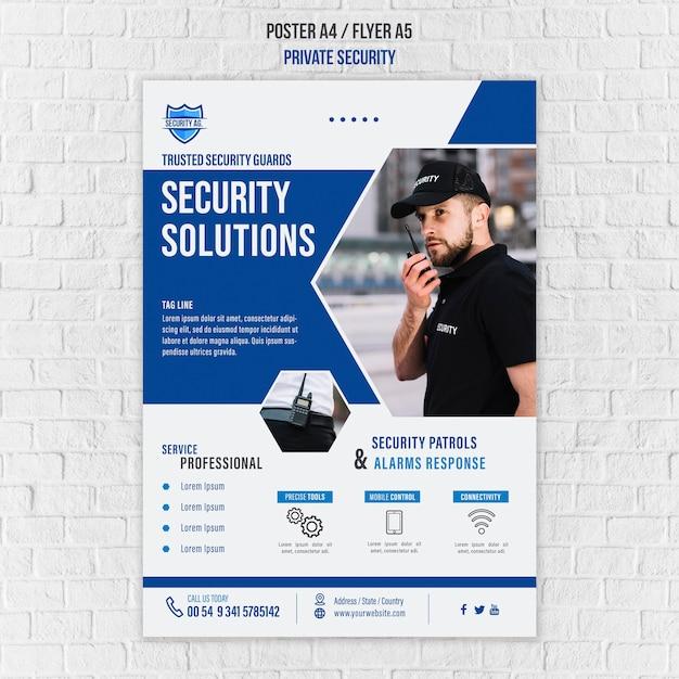 Plantilla de póster de servicios de seguridad PSD gratuito
