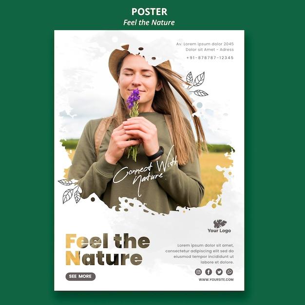 Plantilla de póster siente la naturaleza PSD gratuito