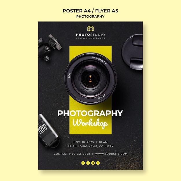Plantilla de póster de taller de fotografía PSD gratuito