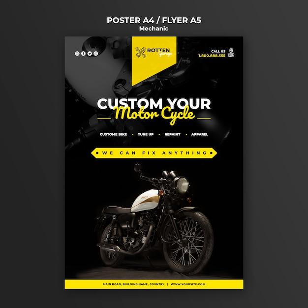 Plantilla de póster para taller de reparación de motocicletas PSD gratuito