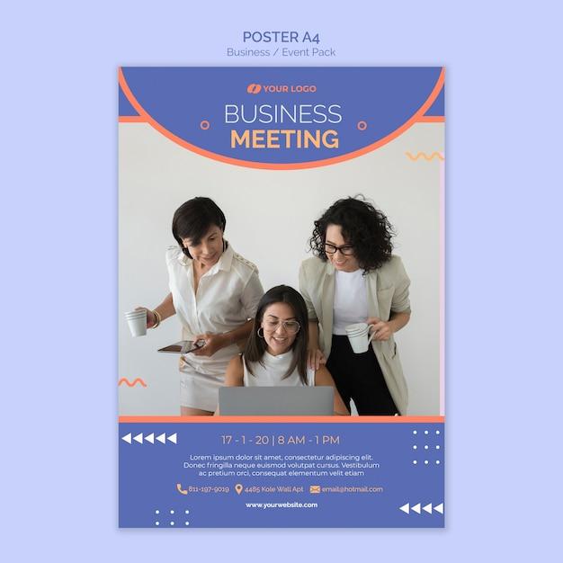 Plantilla de póster con tema de evento empresarial PSD gratuito