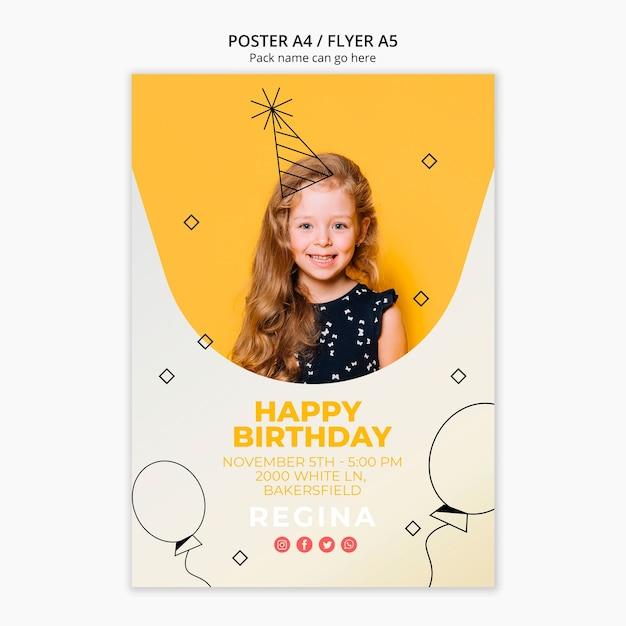 Plantilla de póster con tema de feliz cumpleaños PSD gratuito