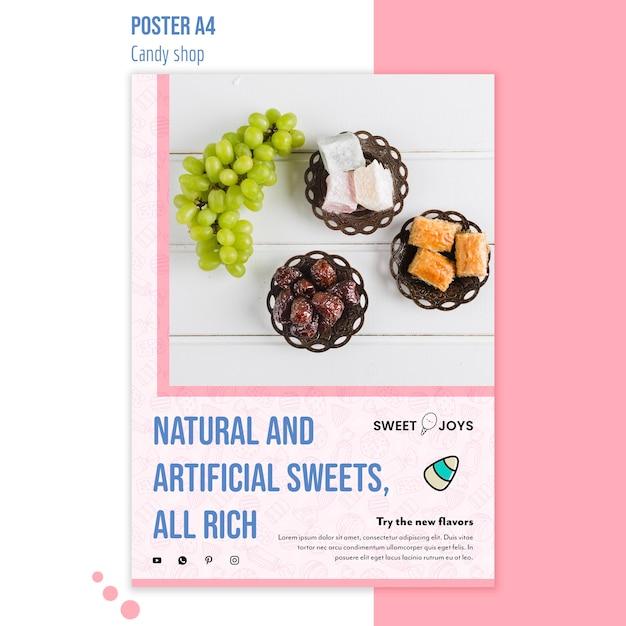 Plantilla de póster de tienda de dulces PSD gratuito