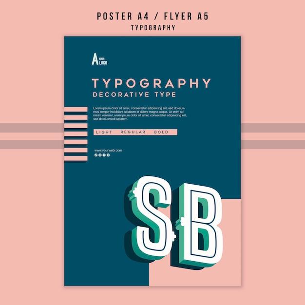 Plantilla de póster de tipografía PSD gratuito