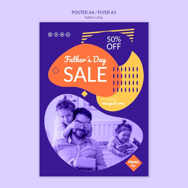 Plantilla de póster de venta promocional del día del padre PSD gratuito