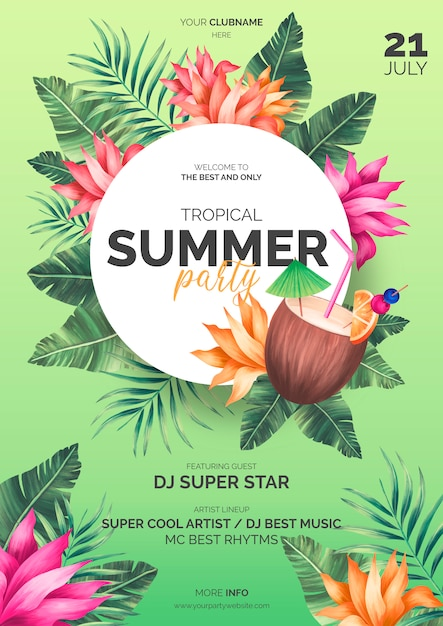 Plantilla de póster de verano tropical PSD gratuito