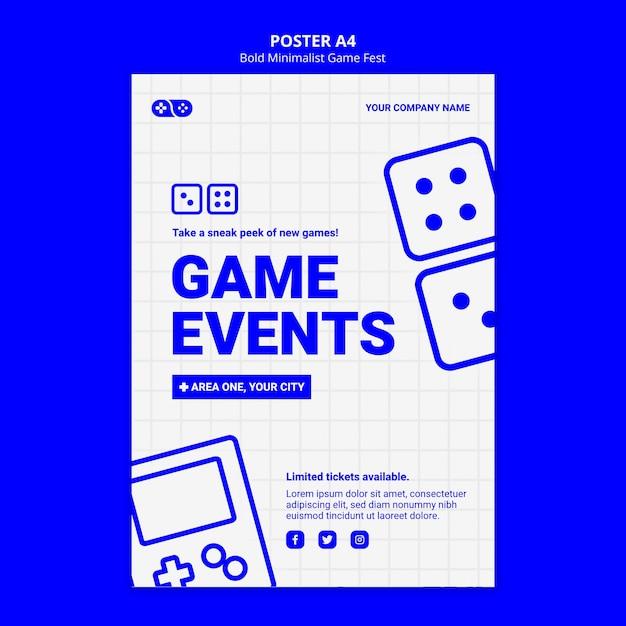 Plantilla de póster de videojuegos jam fest PSD gratuito