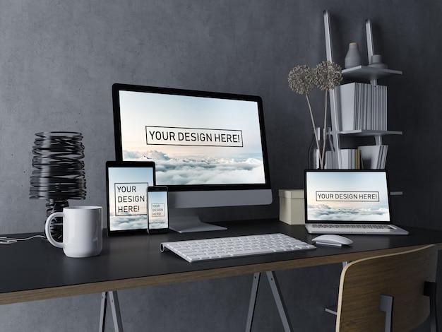 Plantilla premium de diseño de maqueta de escritorio, computadora portátil, tableta y teléfono móvil con pantalla editable en el moderno espacio de trabajo interior en negro PSD Premium