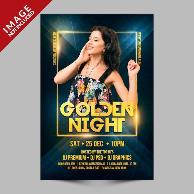 Plantilla psd premium de golden night party flyer PSD Premium