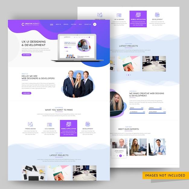 Plantilla psd premium de la página de destino de la agencia de diseño ui y ux PSD Premium