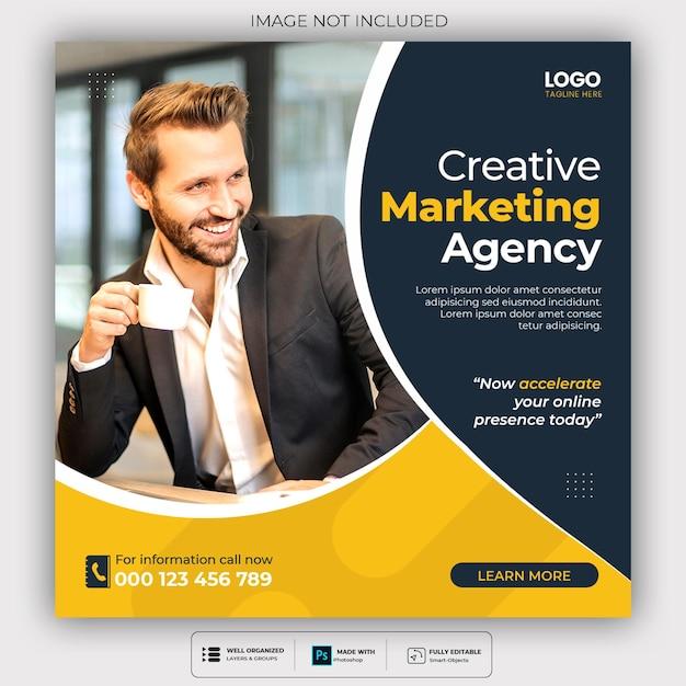 Plantilla de publicación de agencia de marketing digital y redes sociales corporativas PSD gratuito